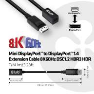 Mini DisplayPort 1.4 to DisplayPort Extension Cable 8K60Hz DSC 1.2 HBR3 HDR Bidirectional F/M 1m/3.28ft