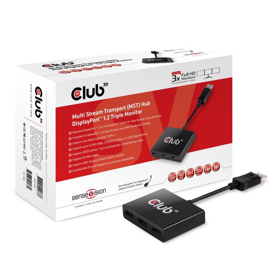 Club 3d Multi Stream Transport Mst Hub Displayport 1
